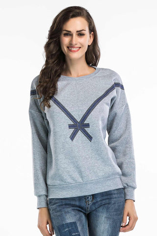 Bowknot Print Sweatshirt With Long Sleeves
