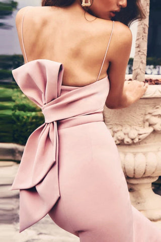 Bowknot Back Spaghetti Straps Bandage Prom Dress