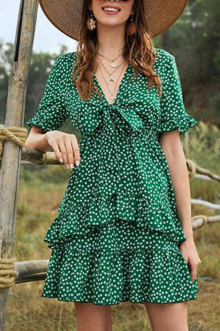 Bowknot Double Layered Ruffled Print Dress