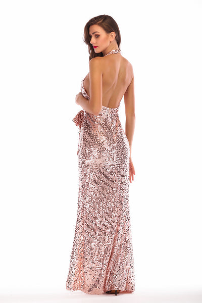 Brilliant V-neck Slit Backless Halter Sequin Prom Dress