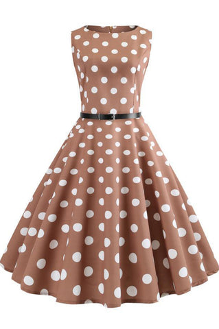 Brown Polka Dot Retro Sleeveless Dress