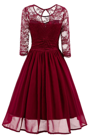 Burgundy A-line Lace Homecoming Dress With Sleeves