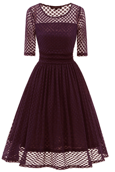 Burgundy A-line Lace Prom Dress With Sleeves