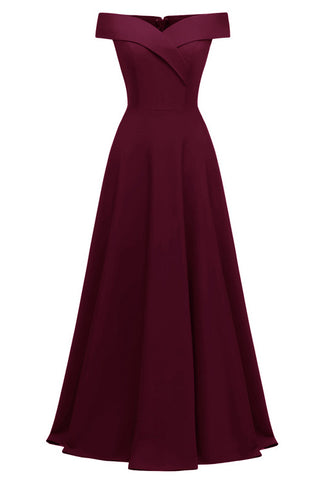 Burgundy A-line Off-the-shoulder Long Formal Dress