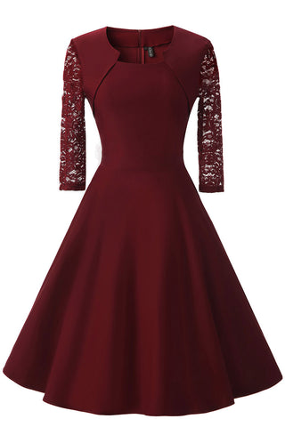 Burgundy A-line Prom Dress WIth Half Sleeves