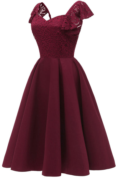 Burgund Cap Sleeves Satin Heimkehr Kleid