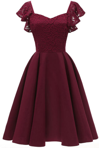 Burgundy Cap Sleeves Satin Homecoming Dress