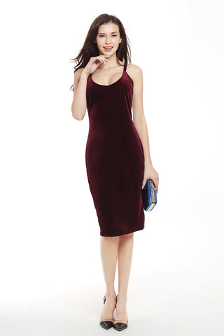 Burgundy Crisscross Sleeveless Velvet  Bodycon Dress