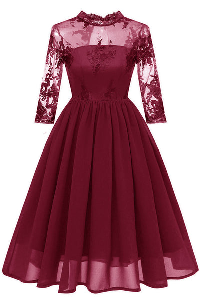 Burgundy Cut Out A-line Homecoming Dress With Appliques
