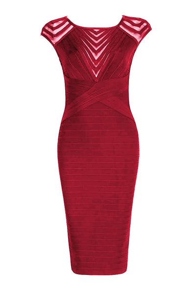 Burgundy Cut Out Short Bandage Party Dress