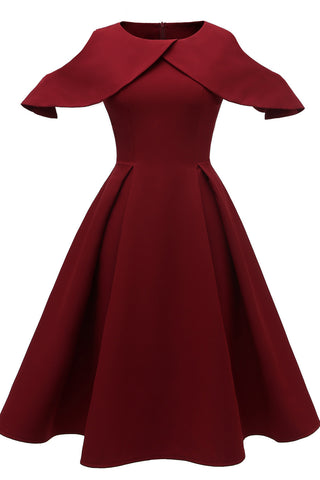 Burgundy Cutout Sleeve Cocktail Dress
