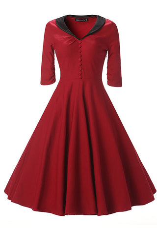 Burgundy Fit And Flare Prom Dress With Sleeves