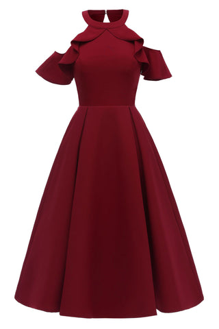 Burgundy Fit And Flare Ruffled Off-the-shoulder Homecoming Dress