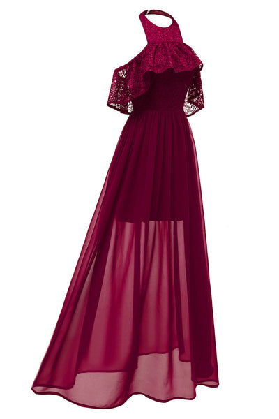 Burgundy High Low Halter Chiffon Long Prom Dress - Mislish