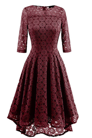 Burgundy Lace A-line Prom Dress With Sleeves