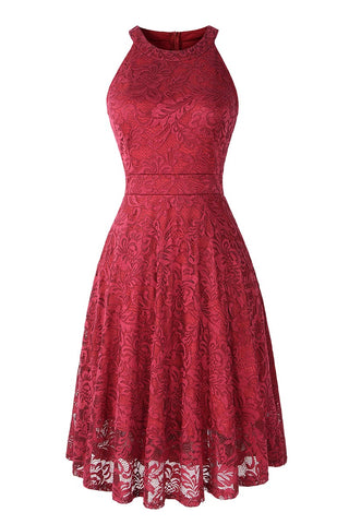 Burgundy Lace A-line Sleeveless Cocktail Dress
