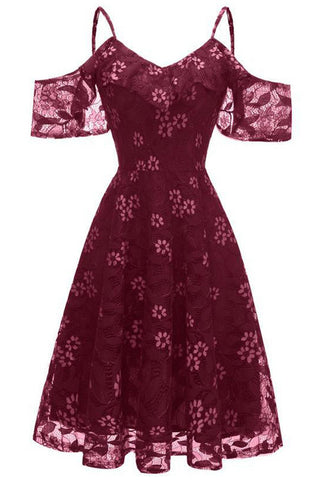 Burgundy Lace A-line Spaghetti Straps Prom Dress