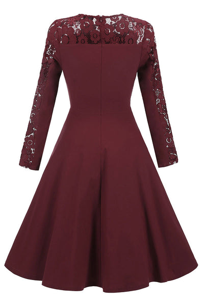 Burgundy Lace Fit And Flare Prom Dress With Long Sleeves