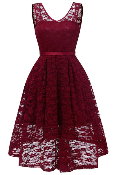Burgundy Lace High Low Short Prom Bridesmaid Dress - Mislish
