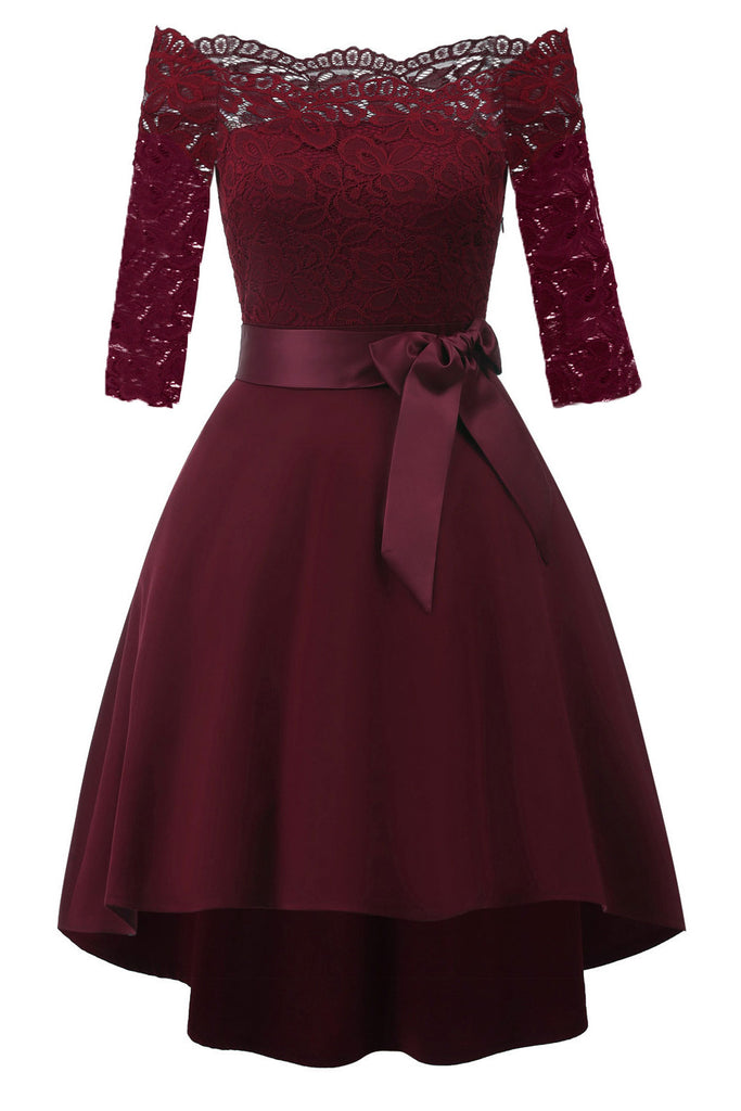 83fade07 Burgundy Lace Off Shoulder High Low Prom Dress