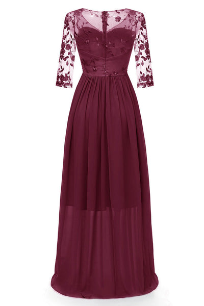 Burgundy Long A-line Long Sleeves Prom Dress With Appliques