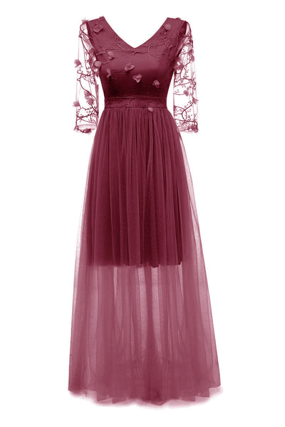 Burgundy Long V-neck Applique A-line Prom Dress With Sleeves