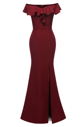 Burgundy Mermaid Off-the-shoulder Slit Prom Dress
