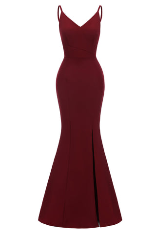 Burgundy Mermaid Spaghetti Straps Ruffled Prom Dress