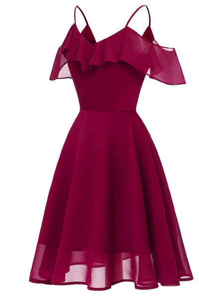 Burgundy Off-the-shoulder A-line Spaghetti Strap Prom Dress