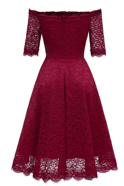 Burgundy Off-the-shoulder Lace Bridesmaid Prom Dress With Sleeves - Mislish