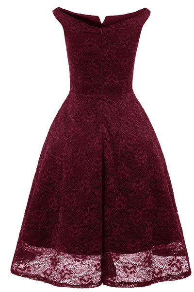 Burgund Off-the-Shoulder-Spitze Homecoming Abendkleid