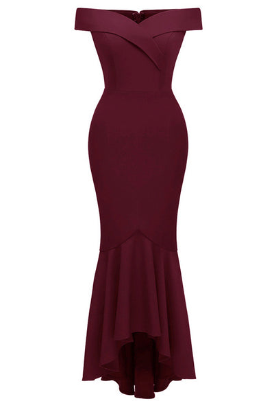 Burgundy Off-the-shoulder Ruffled Prom Dress