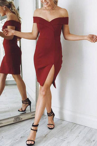 Burgundy Off-the-shoulder Short Bandage Dress