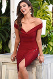 Burgundy Off-the-shoulder Short Bodycon Dress