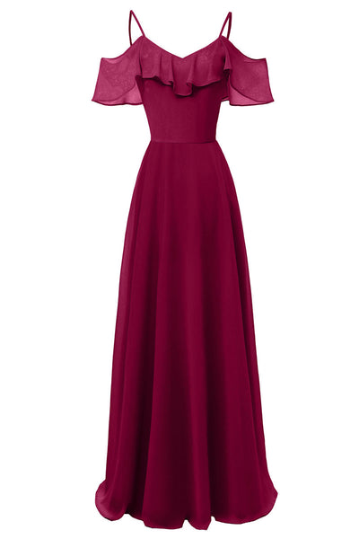 Burgundy Off-the-shoulder Spaghetti Straps A-line Bridesmaid Dress