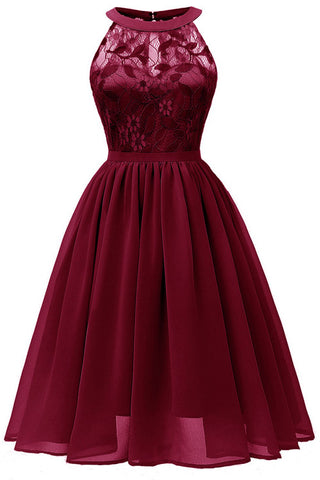 Burgundy Sleeveless A-line Lace Prom Dress