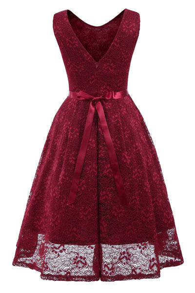 Burgundy Sleeveless A-line Princess Prom Dress