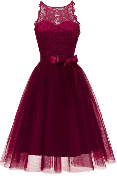Burgundy Sleeveless Cut Out A-line Prom Dress