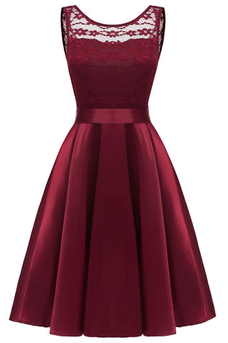 Burgundy Sleeveless Lace Prom Homecoming Dress - Mislish