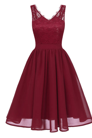 Burgundy V-neck Lace A-line Prom Dress