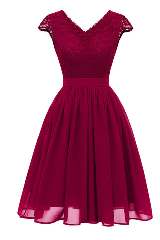 Burgundy V-neck Lace Homecoming Prom Dress - Mislish
