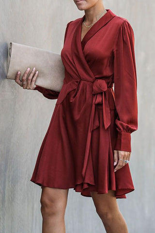 Burgundy V-neck Tie Front Wrap Dress