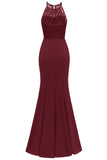 Burgundy Lace Mermaid Long Prom Dress