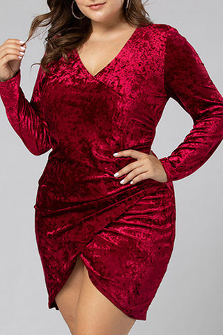 prodotti / Burgundy_V-neck_Asymmetric_Dress_3.jpg