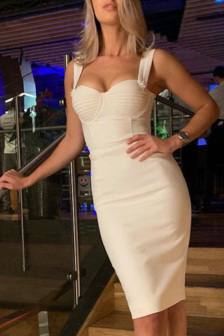 Bustier Detail Zip Back Bandage Dress