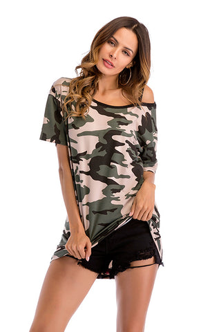 Camouflage Off-the-shoulder Asymmetrical Neck Tee