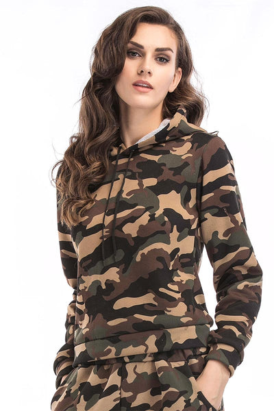 Camouflage Print Drawstring Sweatshirt With Long Sleeves