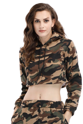 Camouflage Print Drawstring Hooded Crop Sweatshirt