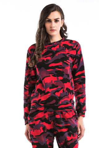 Camouflage Print Long Sleeve Sweatshirt