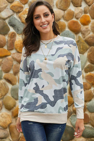 Camouflage Print Round Neck Pullover T-shirt